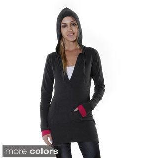 Hadari Women's Lightweight V-neck Hoodie Sweater