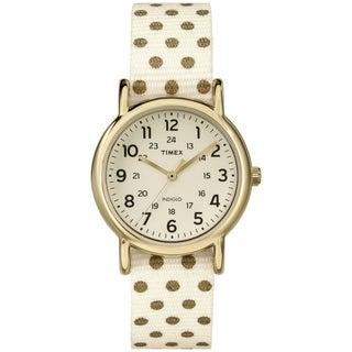Timex Women's Weekender Reversible Cream Nylon Strap Watch