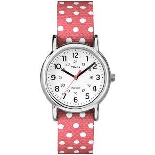 Timex Women's Weekender Polkadot Reversible Coral Nylon Strap Watch