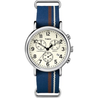 Timex Unisex Weekender Forty Chrono Multi-tone Striped Nylon Strap Watch