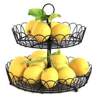 2-tier Black Metal Wire Standing Fruit Storage Basket