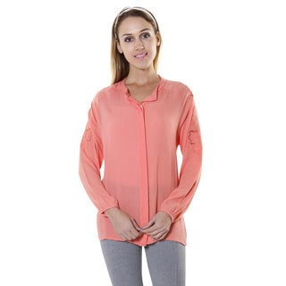 Hadari Women's Contemporary Orange Casual Long Sleeve Button Up