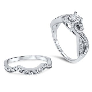 Bliss 14k White Gold 1 1/10ct TDW Diamond Twisted Shank Bridal Ring Set (H-I, I2-I3)