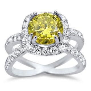 Noori 18k White Gold 2 1/3ct TDW Canary Yellow Round Certified Diamond Ring (E-F, SI1-SI2)