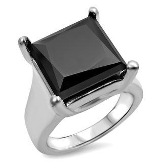 Noori 14k White Gold 6ct TDW Black Princess-cut Certified Diamond Ring