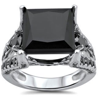 Noori 14k White Gold 6 3/5ct TDW Black Princess-cut Certified Diamond Ring