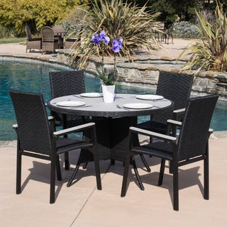 Christopher Knight Home Freeport 5-piece Outdoor Black Wicker Dining Set