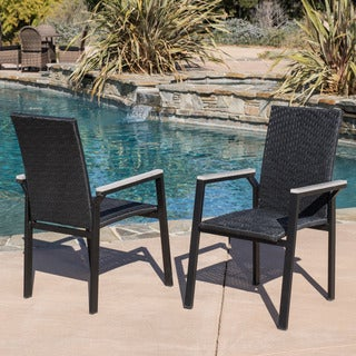 Christopher Knight Home Freeport Outdoor Black Wicker Armchair (Set of 4)