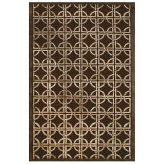Feizy Dim Sum Chocolate Geometric Blended Wool Area Rug (8'6 x 11'6)