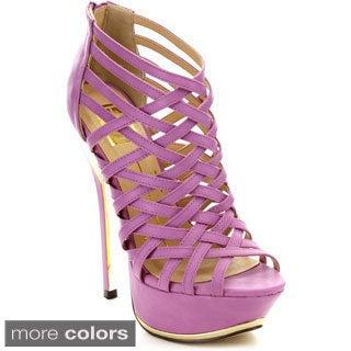 Fahrenheit Women's 'Amy-01' Criss-cross Cage Platform Heels.