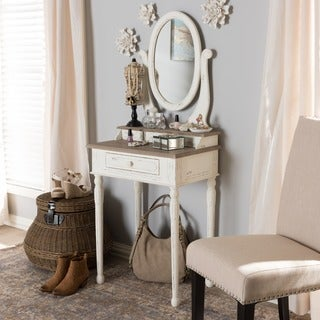 Anjou Traditional French Accent Dressing Table with Mirror