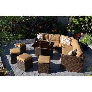 Madrid 8-piece Toffee All-weather Resin Wicker Sectional Seating and Class Coffee Table Group