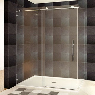 LessCare 48 or 60 x 76 x 34.5-inch Frameless Chrome/ Brushed Nickel Finish Clear Glass Shower Enclosures