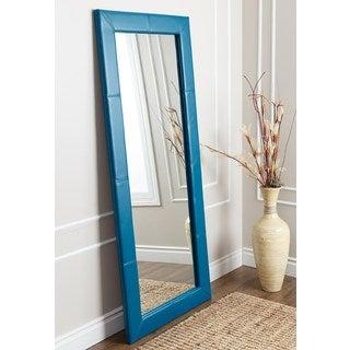ABBYSON LIVING Delano Blue Leather Floor Mirror
