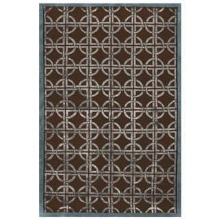 Grand Bazaar Dim Sum Chocolate/ Steel Geometric Area Rug (8'6 x 11'6)
