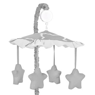 Sweet JoJo Designs Grey/ White Trellis Musical Baby Crib Mobile