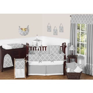Sweet JoJo Designs Neutral Grey/ White Trellis 9-piece Baby Bedding Set