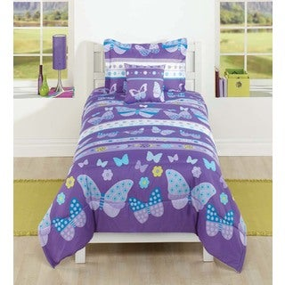 Purple Butterfly Polyester Comforter Set