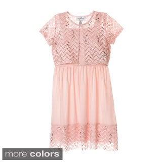 Sophia Christina Girls' Chevron Lace/ Sequin Dress with Bolero