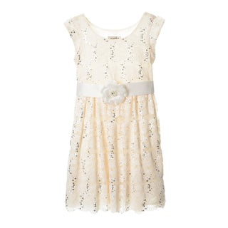 Sophia Christina Girls Allover Lace/ Sequin Dress With Floral Pin