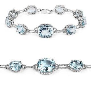 Sterling Silver 24 3/4ct TGW Blue Topaz Tennis Bracelet