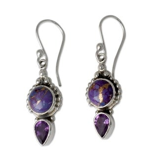 Sterling Silver 'Vision in Purple' Amethyst Turquoise Earrings (India)
