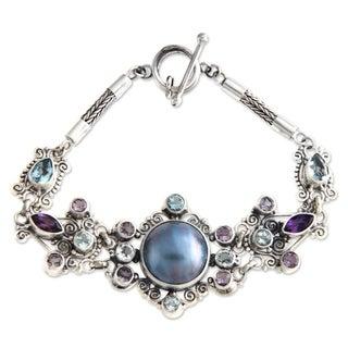 Silver 'Goddess Petals' Pearl Amethyst Bracelet (13.5mm) (Indonesia)