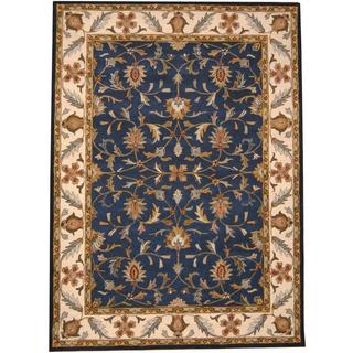 Herat Oriental Indo Hand-tufted Mahal Blue/ Ivory Wool Rug (8' x 11')