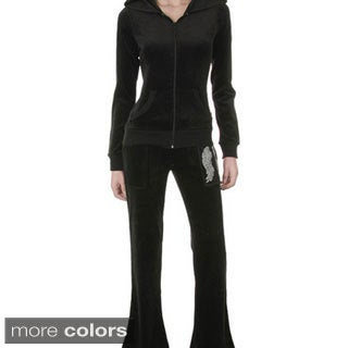 Tabeez Women's Diamond-studded Velour Set