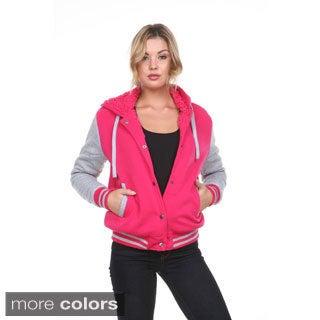 Stanzino Women's Fleece Lined Hooded Varsity Jacket