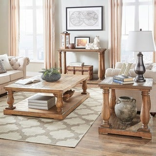 INSPIRE Q Edmaire Rustic Baluster Weathered Pine 3-piece Table Set