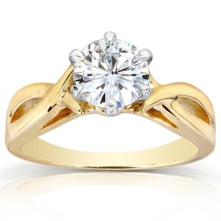 Annello 14k Yellow Gold 1ct 6-prong Round Moissanite Solitaire Engagement Ring