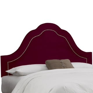 Skyline Furniture Arch Inset Nail Button Headboard in Micro-Suede Burgundy