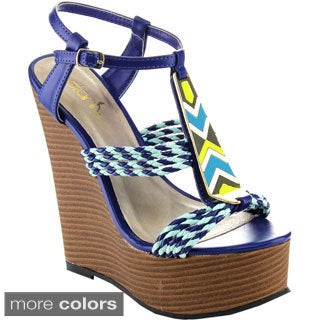 Betani Women's 'Edith-4' Colorful Braided Wedge Sandals