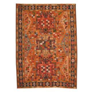 Herat Oriental Afghan Hand-woven Vegetable Dye Soumak Rust/ Navy Wool Rug (8'4 x 11'5)