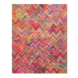 Hand-tufted Sari Chevron Multi-colored Cotton Rug (7'9 x 9'9)