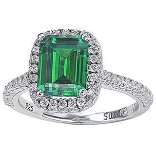 Suzy Levian Sterling Silver Green Cubic Zirconia Halo Ring