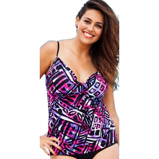 Shore Club Mohegan Plus-size Tab Front Tankini Top