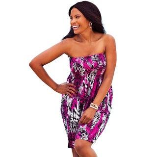 Tortola Women's Plus Size Pink Animal Print Smocked Dress