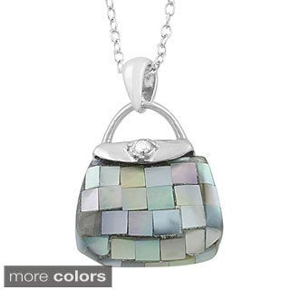 Fremada Rhodium Plated Sterling Silver Mother of Pearl Purse Necklace