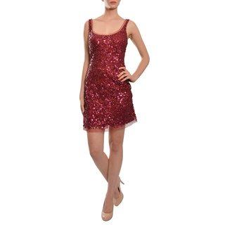 Aidan Mattox Merlot Sleeveless All-Over Sequin Scoop Neck Cocktail Evening Dress