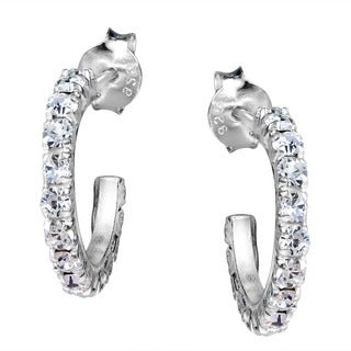 Aeravida Sterling Silver Cubic Zirconia Half Hoop Earrings (Thailand)