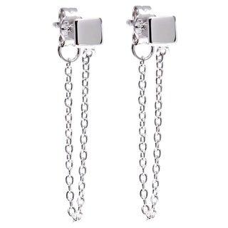 La Preciosa Sterling Silver Square Stud with Hanging Chain Earrings