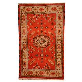 Herat Oriental Indo Hand-knotted Tribal Kazak Red/ Beige Wool Rug (3' x 5')