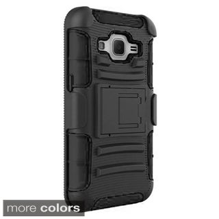 Insten Hard PC/ Silicone Dual Layer Hybrid Phone Case Cover with Holster For Samsung Galaxy Core Prime