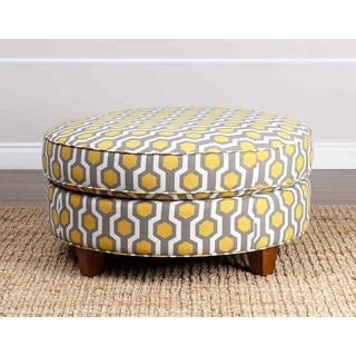 ABBYSON LIVING Conway Yellow Pattern Fabric Round Ottoman