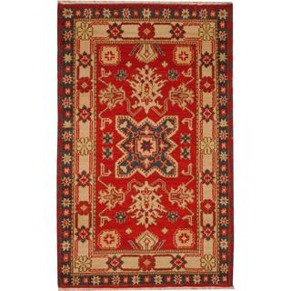 Herat Oriental Indo Hand-knotted Tribal Kazak Red/ Light Blue Wool Rug (3' x 5')
