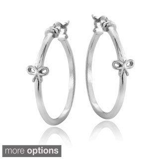 Mondevio Sterling Silver Bow Polished Hoop Earrings