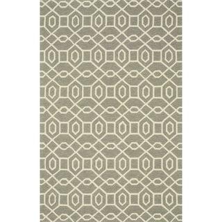 Hand-hooked Indoor/ Outdoor Capri Grey/ Ivory Rug (7'6 x 9'6)