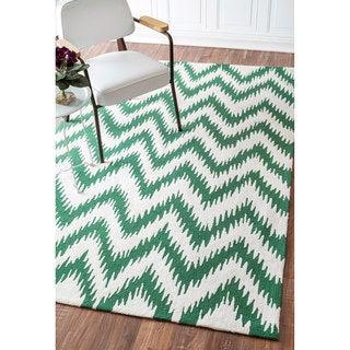 nuLOOM Handmade Chevron Wool/ Cotton Rug (8'6 x 11'6)
